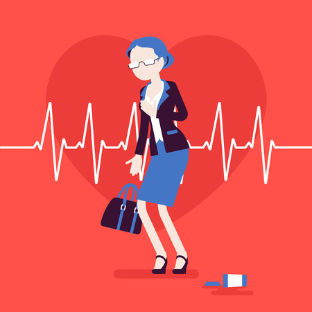 Heart attack female symptoms. Senior woman has a sudden great pain, aching sensation in chest, medical emergency case, cardiogram pulse. Medicine, healthcare. Vector illustration, faceless characters