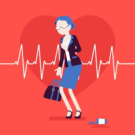 Síntomas femeninos de ataque al corazón. La mujer mayor tiene un gran dolor repentino, sensación de dolor en el pecho, caso de emergencia médica, pulso de cardiograma. Medicina, salud. Ilustración vectorial, personajes sin rostro