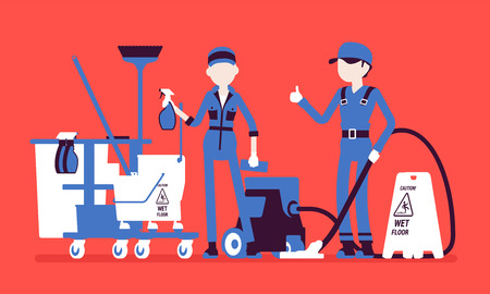 Janitors team working with professional tools. Workers in uniform employed to take care of building, apartment or office, janitorial equipment for cleaning. Vector illustration, faceless characters Ilustrace