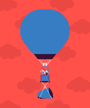 Hot air balloon with business people in flight and a rock. Heavy load to carry, difficult weight or dangerous handicap prevents good start and development, causes worry, hardship. Vector illustration Banque d'images - 122039889