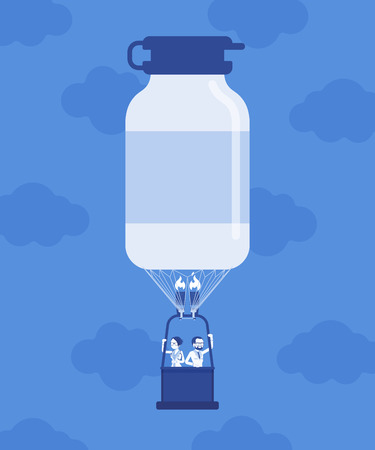Medicine bottle shape hot air balloon with doctors. Pharmacology drug production industry discovery, department store development symbol, pills manufacturing profitable business. Vector illustration
