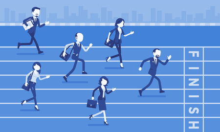 Businessmen running at business competition. Rivalry race between companies or managers, workers in motivational contest, employees establishing superiority. Vector illustration, faceless characters Ilustração Vetorial