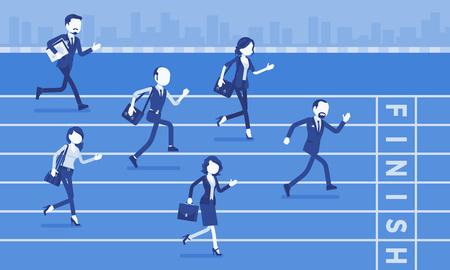 Uomini d'affari che corrono alla concorrenza tra imprese. Gara di rivalità tra aziende o dirigenti, lavoratori in competizione motivazionale, dipendenti che stabiliscono la superiorità. Illustrazione vettoriale, personaggi senza volto Vettoriali
