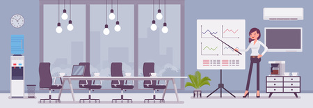 Meeting room in a business center office and female manager. Modern conference hall, preparation for formal event, corporate consultation or employee discussion. Vector flat style cartoon illustration Vectores