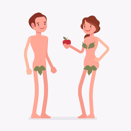 Adam and Eve Bible first man, woman. Creation myth people with forbidden tree fruit, apple, naked couple, male fall and mankind sin. Vector flat style cartoon illustration isolated on white background