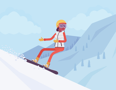 Active sporty woman riding on snowboard, enjoy winter outdoor fun on ski resort with beautiful snowy nature and mountain view, wintertime tourism and recreation. Vector flat style cartoon illustration