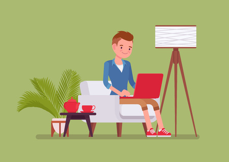 Young male employee working from home. Happy freelance worker, self-employed in comfortable remote location workspace, homeworking, career in telecommuting jobs. Vector flat style cartoon illustration
