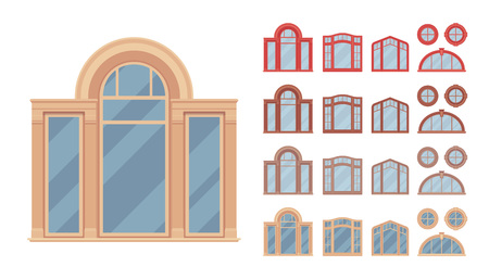 Window for building fitted with glass in a frame. Carved decorative elements set. Home and office design for residential project. Vector flat style cartoon illustration isolated on white background