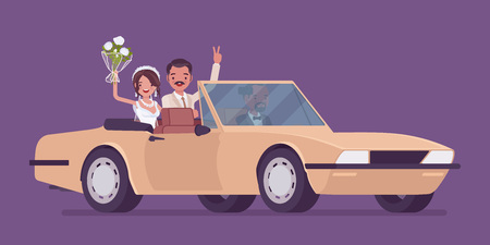 Bride and groom in luxury car on wedding ceremony. Latin American man, woman in beautiful dress on traditional celebration, married couple in love. Marriage customs and traditions. Vector illustration