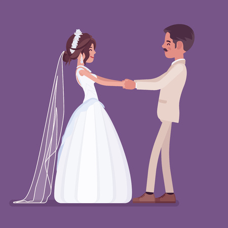 Bride and groom in a first dance on wedding ceremony. Latin American man, woman in beautiful dress on traditional celebration, married couple in love. Marriage customs, traditions. Vector illustration Illustration