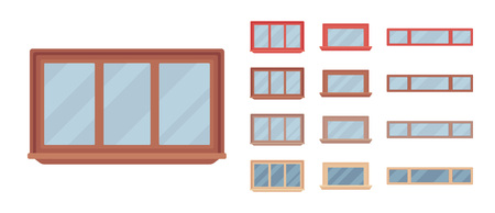 Window for building fitted with glass in a frame. Small rectangle facade elements. Home and office design for residential project. Vector flat style cartoon illustration isolated on white background 矢量图像