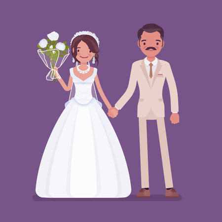 Happy bride, groom holding hands on wedding ceremony. Latin American man, woman in beautiful dress on traditional celebration, married couple in love. Marriage customs, traditions. Vector illustration Illustration