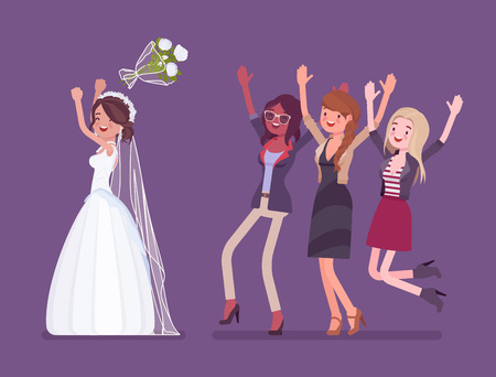 Bride and bridesmaids in bouquet toss tradition on wedding ceremony. Latin American woman in beautiful white dress throwing flowers on celebration. Marriage customs and traditions. Vector illustration