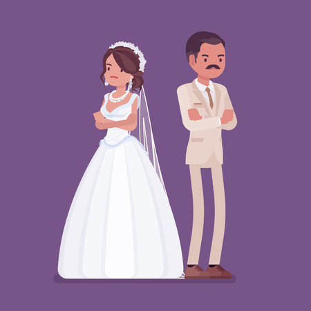 Angry offended bride, groom on wedding ceremony. Unhappy Latin American man, woman in beautiful dress on traditional celebration, sad married couple. Marriage customs, traditions. Vector illustration 向量圖像