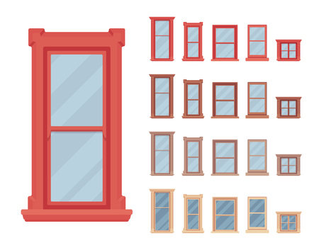 Window for building fitted with glass in a frame. Small facade elements. Home and office design for residential project. Vector flat style cartoon illustration isolated on white background