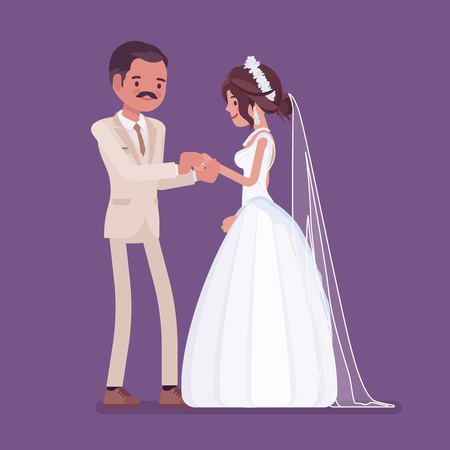Bride, groom exchange of wedding rings ceremony. Latin American man, woman in beautiful dress on traditional celebration, married couple in love. Marriage customs and traditions. Vector illustration