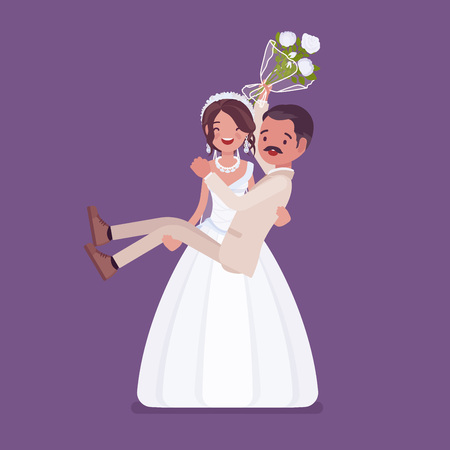 Bride carrying groom on wedding ceremony. Latin American man, woman in a beautiful white dress on traditional celebration, married couple in love. Marriage customs and traditions. Vector illustration
