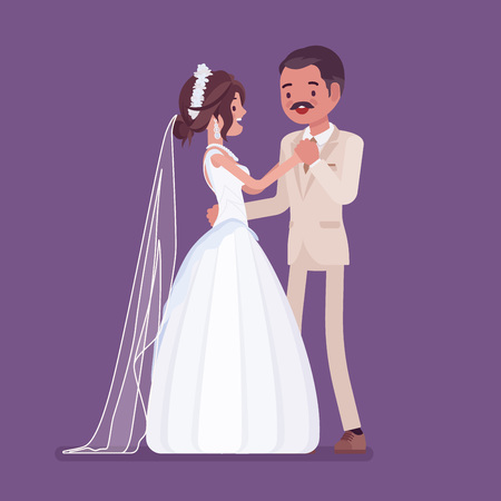 Bride and groom first dance on wedding ceremony. Latin American man, woman in a beautiful dress on traditional celebration, married couple in love. Marriage customs and traditions. Vector illustration