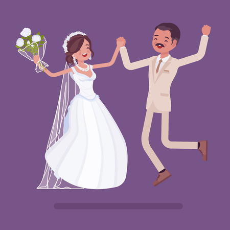Bride and groom happy jump on wedding ceremony. Latin American man, woman in a beautiful dress on traditional celebration, married couple in love. Marriage customs and traditions. Vector illustration