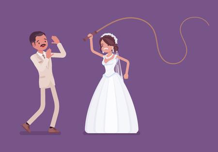 Braut peitscht oder schlägt Bräutigam mit Peitsche. Lateinamerikanischer unglücklicher Mann, der von einer Frau unterdrückt wird, traditionelle Feier, Frau in Ehepaarkontrolle. Ehebräuche, Traditionen. Vektor-Illustration