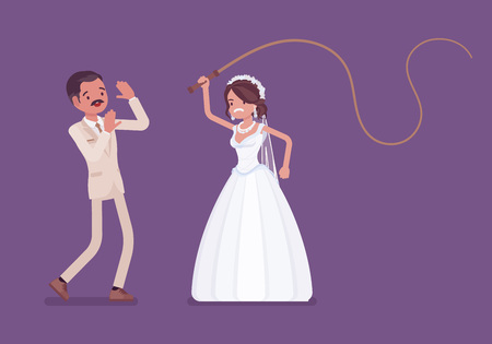 Bride flogging or beating groom with whip. Latin American unhappy man oppressed by woman, traditional celebration, wife in married couple controlling. Marriage customs, traditions. Vector illustration Çizim