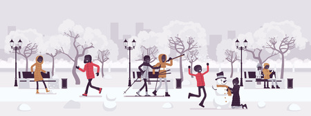 Winter season park zone. Large public garden in snow, land area, fun, recreation, citizens enjoy open air activities, walk, ski, make snowman, play snowballs. Vector illustration, faceless characters Çizim