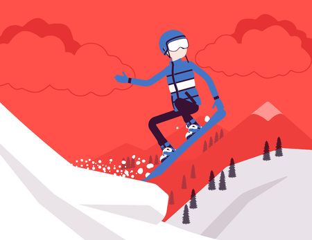 Active sporty man riding on snowboard, jumping, enjoy winter outdoor fun on ski resort with snowy nature and mountain view, wintertime tourism and recreation. Vector illustration, faceless characters