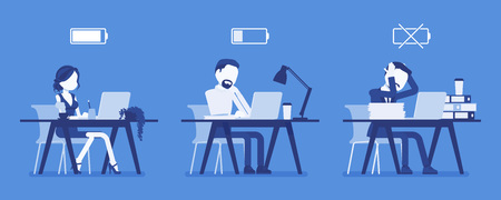 Office workers with battery charge level indicator. Employees of different energy limit, full, low, empty icon effectiveness of productive effort at workplace. Vector illustration, faceless characters Çizim