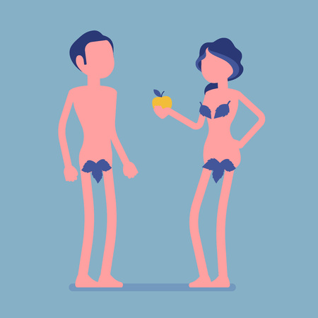 Adam and Eve, Bible first man and woman. Creation myth people with forbidden tree fruit, apple, naked couple, male fall and mankind sin. Vector illustration, faceless characters Illustration