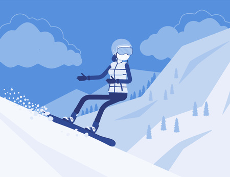 Active sporty woman riding on snowboard, enjoy winter outdoor fun on ski resort with beautiful snowy nature, mountain view, wintertime tourism and recreation. Vector illustration, faceless characters