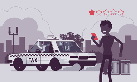 Bad car and rude driver in taxi rating app system. Angry male passenger ranking by smartphone application, service quality, route, price, safety performance. Vector illustration, faceless characters Standard-Bild - 122503708