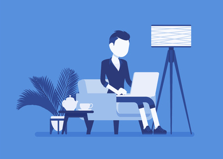 Young male employee working from home. Happy freelance worker, self-employed in comfortable remote location workspace, homeworking, career in telecommuting job. Vector illustration, faceless character Ilustração