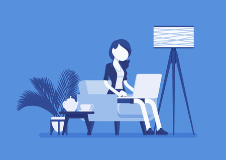 Female employee working from home. Happy freelance worker, self-employed in comfortable remote location workspace, homeworking, career in telecommuting jobs. Vector illustration, faceless characters