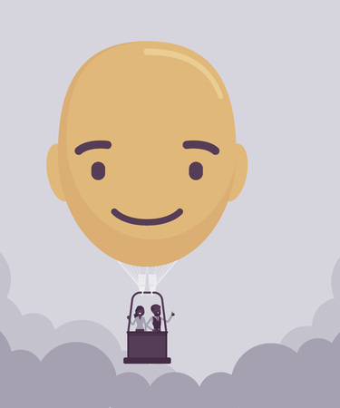 Happy head shape hot air balloon. Positive face with a smile creates optimistic life and business mood, people floating high above, enjoy freedom trip. Vector illustration, faceless characters