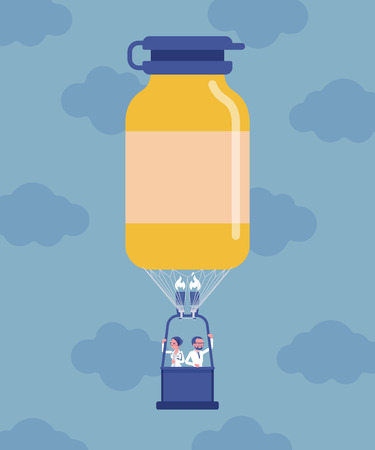 Medicine bottle shape hot air balloon with doctors. Pharmacology drug production industry discovery, department store development, pill manufacturing business. Vector illustration, faceless characters