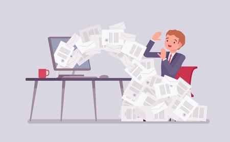 Papierlawine für Geschäftsmann. Männlicher Büroangestellter überladen mit Papierkram vom Computer, Haufen von Geschäftsbriefen und Online-Dokumenten, vielbeschäftigter Angestellter in der Routine, Bürokratie. Vektor-Illustration