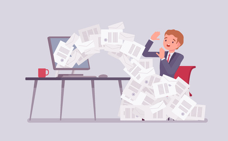 Paper avalanche for businessman. Male office worker overloaded with paperwork from computer, heap of business letters and online documents, busy clerk in routine, bureaucracy. Vector illustration