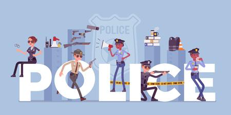 Lettres géantes de la police avec des officiers masculins et féminins. Les policiers en uniforme, travaillant pour la prévention et la détection de la criminalité, ont le devoir professionnel de maintenir la loi, l'ordre public. Illustration vectorielle