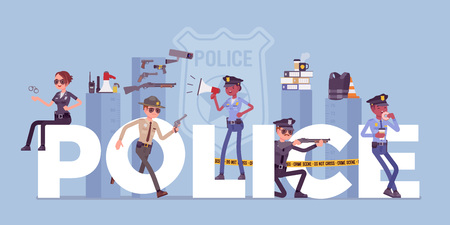 Police giant letters with male and female officers. Policemen in uniform, working for prevention and detection of crime, carry professional duty of maintaining law, public order. Vector illustration