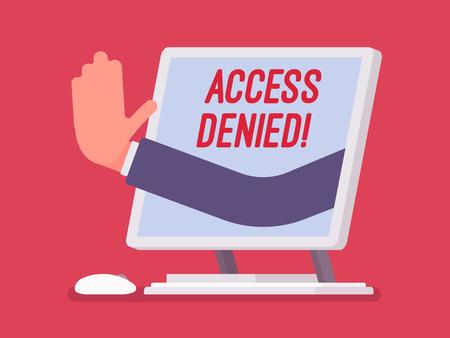Znak odmowy dostępu na ekranie monobloku. Ręka z urządzenia pokazująca, że użytkownik nie ma uprawnień do pliku, system odmawia podania hasła i dostępu do danych komputera, błąd z czerwonym sygnałem. Ilustracja wektorowa