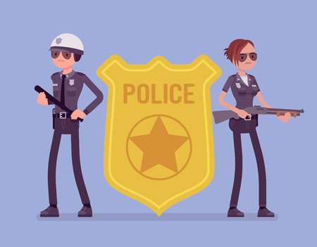 Police officer emblem and policemen. Male and female officers standing near giant bright cop badge, symbol of policing, recognizable professional sign of authority and service. Vector illustration