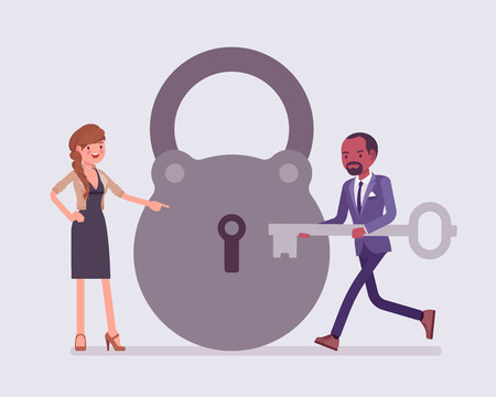 Lock and key, business problem solving and decision making metaphor. Man and woman ready to open, unlock a secret method, formula, or process, find new sound decision, conclusion. Vector illustration
