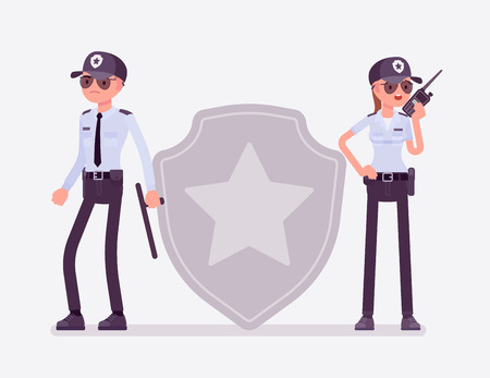 Security sign and guard officers. Male and female workers in uniform employed for protection of a person, building, organization, standing near giant badge, professional star sign. Vector illustration Ilustrace