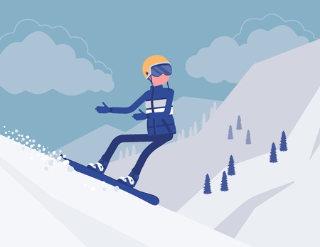 Active sporty man riding on snowboard, enjoy winter outdoor fun on ski resort with beautiful snowy nature and mountain view, wintertime tourism and recreation. Vector illustration, faceless characters