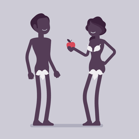 Adam and Eve, Bible first man and woman. Creation myth people with forbidden tree fruit, apple, naked couple, male fall and mankind sin. Vector illustration and faceless characters