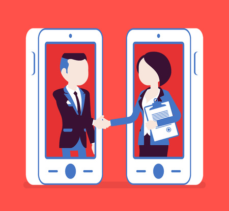 Mobile male, female deal, commercial business agreement. Contract signing, handshake via smartphone, modern safe technology and successful formal cooperation. Vector illustration, faceless characters