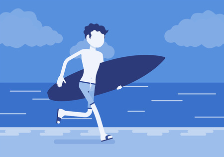 Surfer boy on a beach. Young sporty man on a sea shore with a surfboard running to ride on a wave, active guy enjoys extreme sport on holiday, summer activity. Vector illustration, faceless characters
