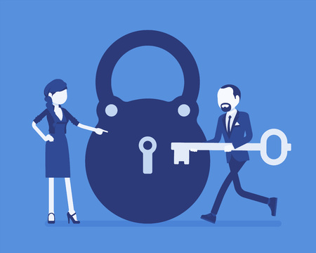 Lock and key, business problem solving and decision making metaphor. Man and woman ready to open, unlock a secret method, formula or process, find answer. Vector illustration and faceless characters
