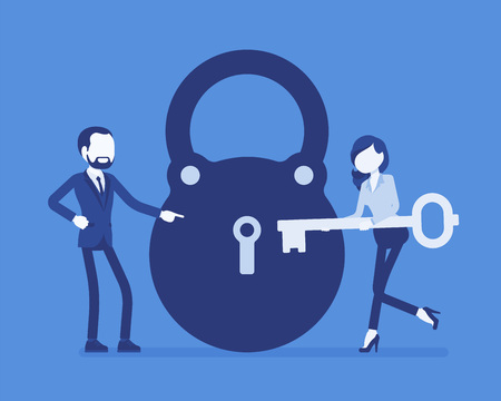 Lock and key, business problem solving and decision making metaphor. Man and woman ready to open, unlock a secret method, find new sound decision, conclusion. Vector illustration, faceless characters Çizim