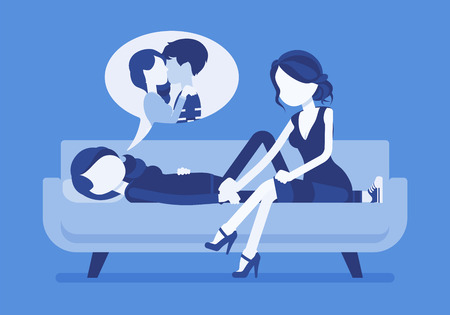 Broken heart girl, true friend to help. Young woman lying on sofa hurt after break up with boyfriend, painful romantic relationship, suffering from depression. Vector illustration, faceless characters